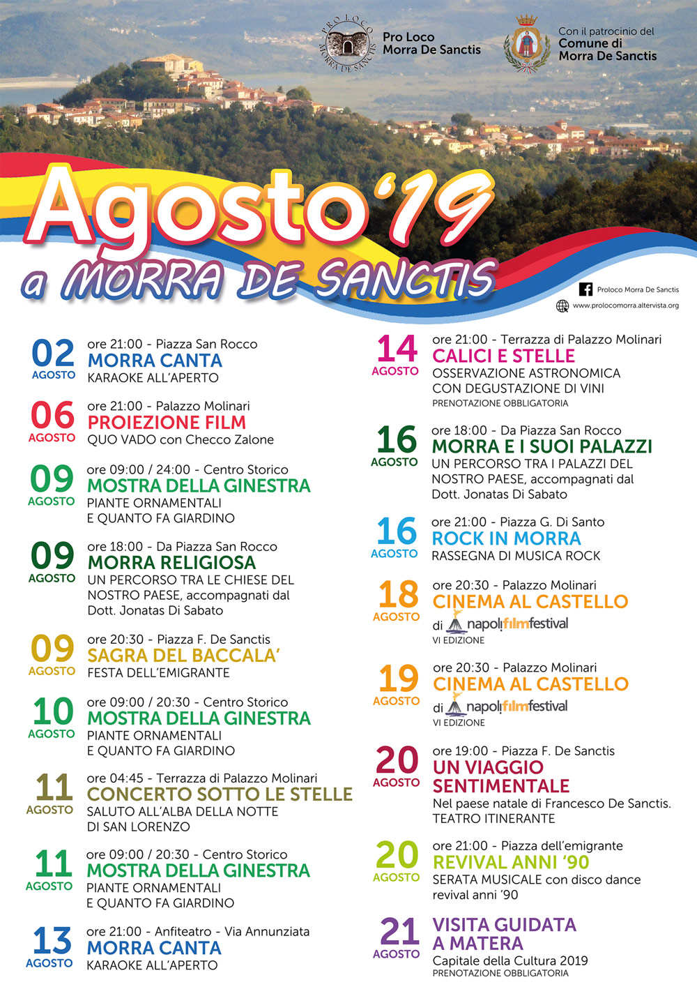 Programma Eventi Estate Agosto 2019 Morra De Sanctis